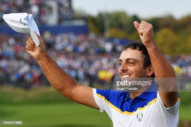 Francesco Molinari of Europe celebrates winning The Ryder Cup during singles matches of the 2018 Ryder Cup at Le Golf National on September 30, 2018...