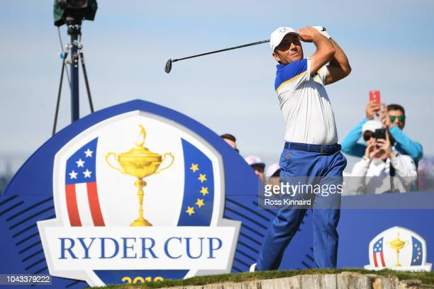 Francesco Molinari of Europe plays his shot from the third tee during singles matches of the 2018 Ryder Cup at Le Golf National on September 30 2018...