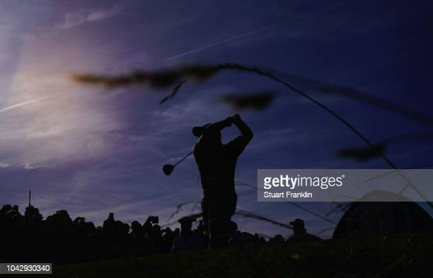 Francesco Molinari of Europe tees off during the afternoon foursome matches of the 2018 Ryder Cup at Le Golf National on September 29, 2018 in Paris,...