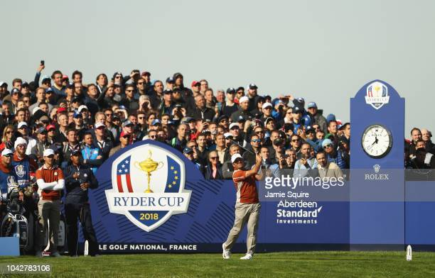 Francesco Molinari of Europe tees off during the morning fourball matches of the 2018 Ryder Cup at Le Golf National on September 29 2018 in Paris...