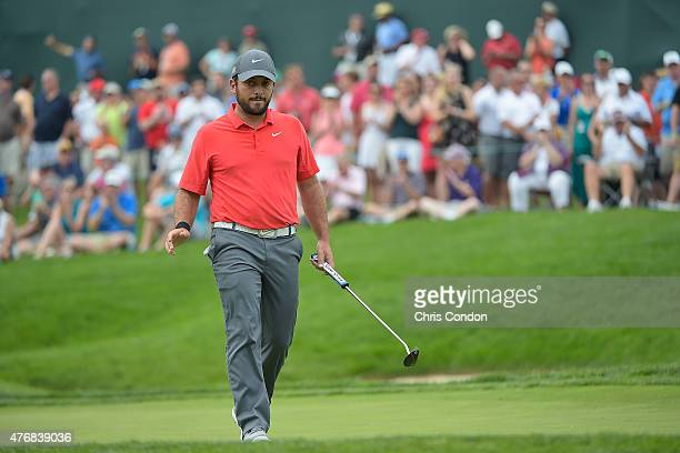 Francesco Molinari of Italy birdies the 14th hole during the final round of the Memorial Tournament presented by Nationwide at Muirfield Village Golf...