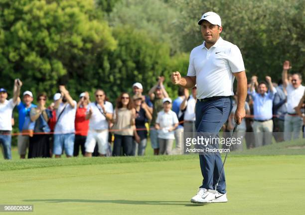 Francesco Molinari of Italy celebrates a birdie on the 16th hole during the final round of the Italian Open at Gardagolf Country Club on June 3 2018...