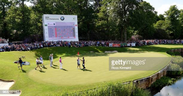 Francesco Molinari of Italy celebrates his win on the 18th green during the final round of the BMW PGA Championship at Wentworth on May 27, 2018 in...