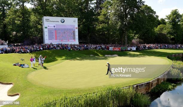 Francesco Molinari of Italy celebrates his win on the 18th green during the final round of the BMW PGA Championship at Wentworth on May 27 2018 in...