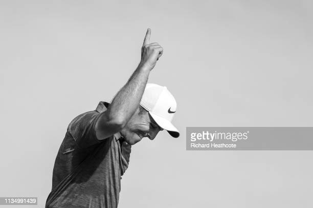 Francesco Molinari of Italy celebrates making a putt for birdie on the 18th hole during the final round of the Arnold Palmer Invitational Presented...