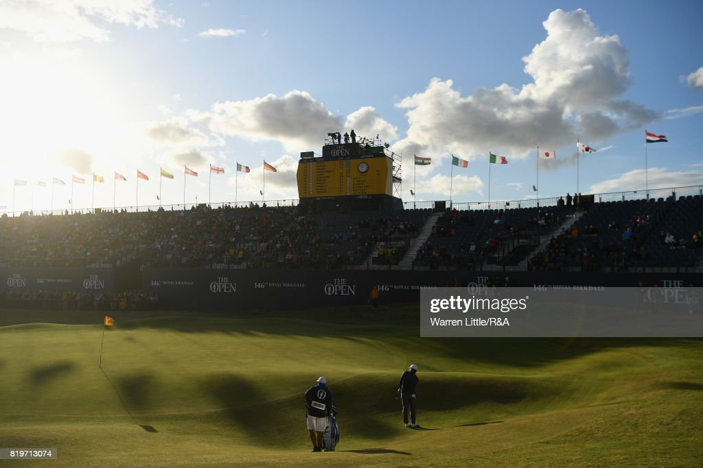 Francesco Molinari of Italy chips onto the 18th green during the first round of the 146th Open Championship at Royal Birkdale on July 20, 2017 in Southport, England.