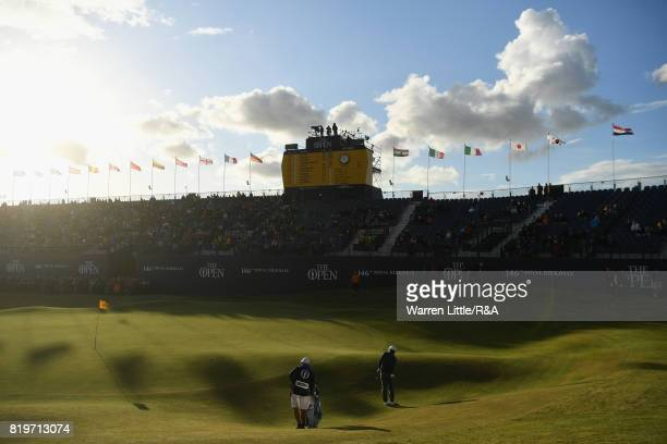 Francesco Molinari of Italy chips onto the 18th green during the first round of the 146th Open Championship at Royal Birkdale on July 20 2017 in...
