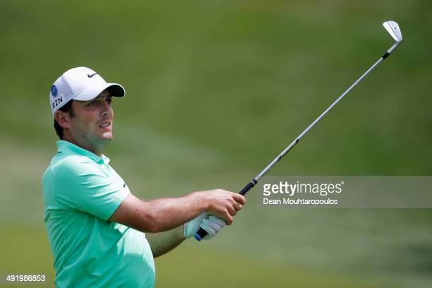 Francesco Molinari of Italy hits his second shot on the 1st hole during the final round of the Open de Espana held at PGA Catalunya Resort on May 18,...
