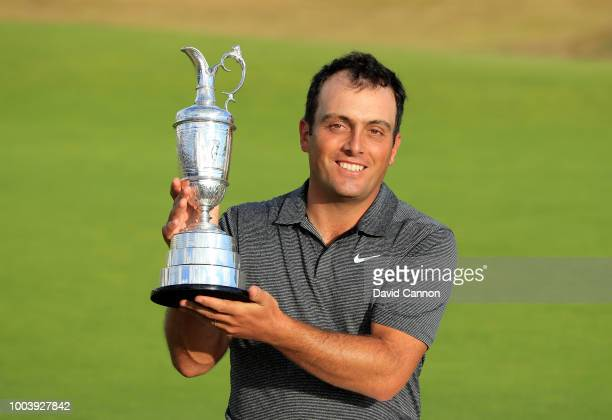Francesco Molinari of Italy holds The Claret Jug as Champion Golfer of the Year after the final round of the 147th Open Championship at Carnoustie...