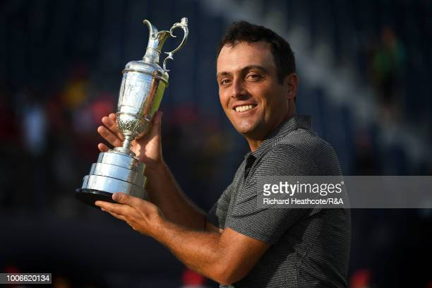 Francesco Molinari of Italy holds the Claret Jug as Champion Golfer after winning the 147th Open Championship at Carnoustie Golf Club on July 22 2018...