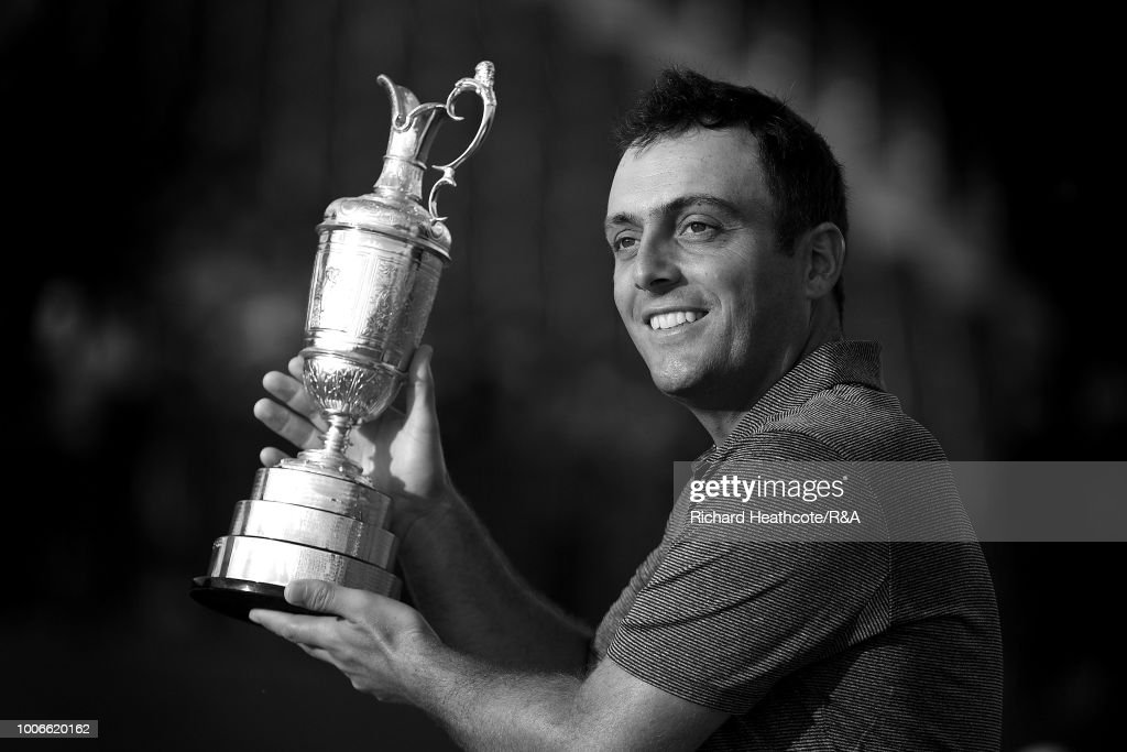 Francesco Molinari of Italy holds the Claret Jug as Champion Golfer after winning the 147th Open Championship at Carnoustie Golf Club on July 22, 2018 in Carnoustie, Scotland.