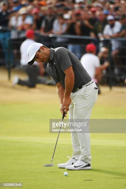 Francesco Molinari of Italy holes a birdie on the 18th green during the final round of the Open Championship at Carnoustie Golf Club on July 22 2018...