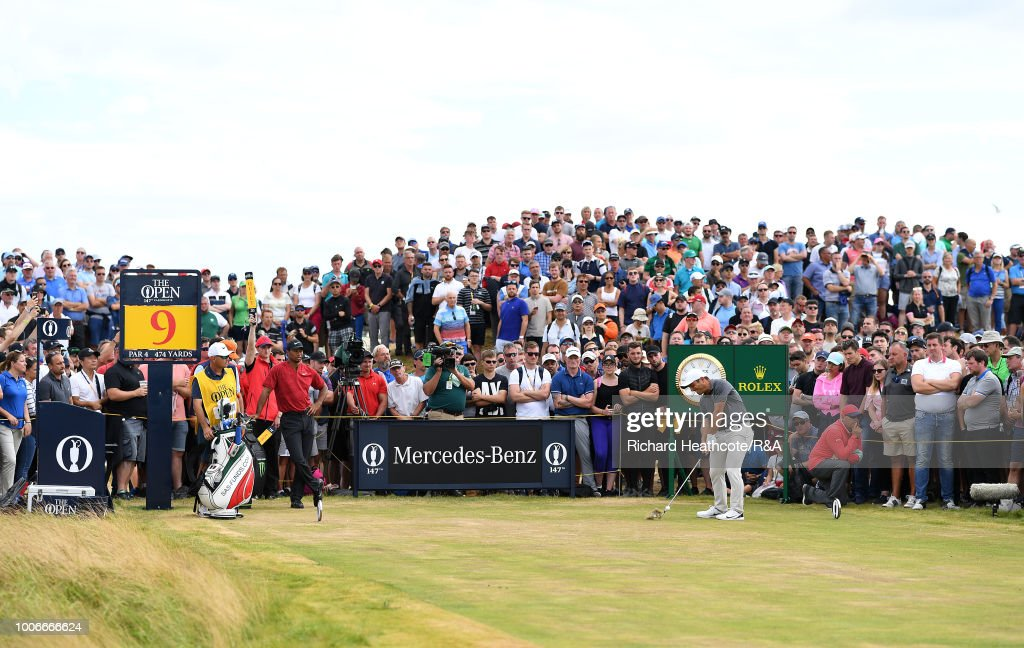 Francesco Molinari of Italy in action during the final round of the Open Championship at Carnoustie Golf Club on July 22, 2018 in Carnoustie, Scotland.