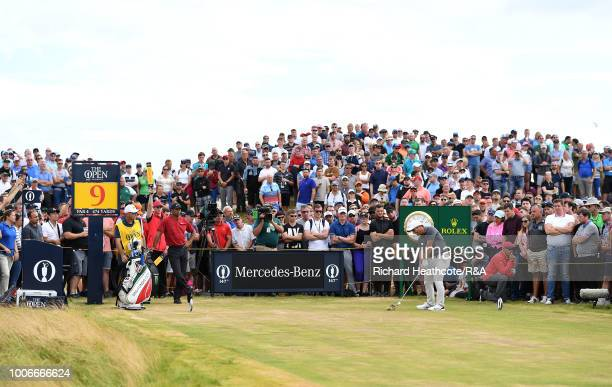 Francesco Molinari of Italy in action during the final round of the Open Championship at Carnoustie Golf Club on July 22 2018 in Carnoustie Scotland