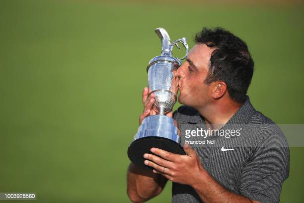 Francesco Molinari of Italy kisses the Claret Jug after winning the 147th Open Championship at Carnoustie Golf Club on July 22 2018 in Carnoustie...