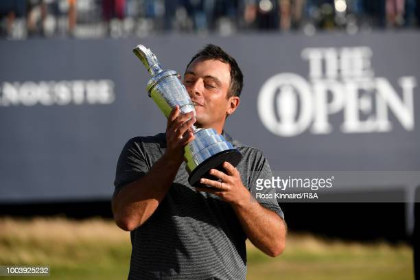 Francesco Molinari of Italy kisses the Claret Jug as Champion Golfer after winning the 147th Open Championship at Carnoustie Golf Club on July 22...