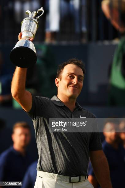 Francesco Molinari of Italy lifts the Claret Jug after winning the 147th Open Championship at Carnoustie Golf Club on July 22 2018 in Carnoustie...