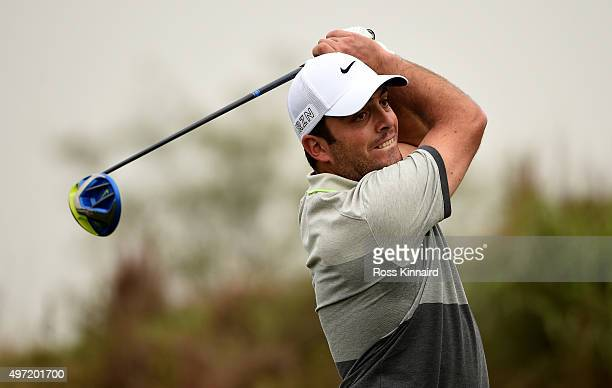 Francesco Molinari of Italy on the par five 7th hole during the final round of the BMW Masters at Lake Malaren Golf Club on November 15 2015 in...