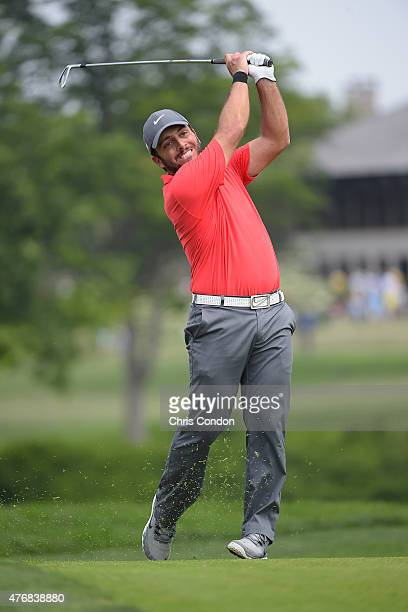 Francesco Molinari of Italy plays his second shot on the 10th hole during the final round of the Memorial Tournament presented by Nationwide at...