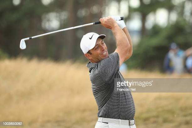 Francesco Molinari of Italy plays his second shot on the 14th hole during the final round of the 147th Open Championship at Carnoustie Golf Club on...