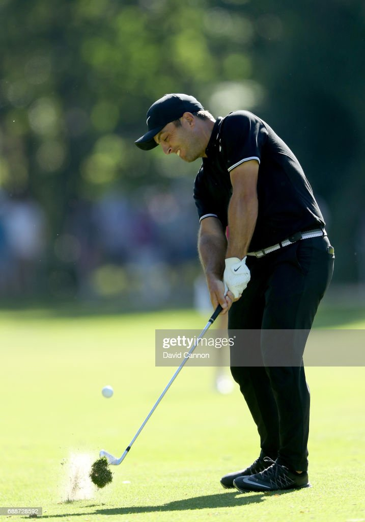 Francesco Molinari of Italy plays his second shot on the par 4, 15th hole during the second round of the 2017 BMW PGA Championship on the West Course at Wentworth on May 26, 2017 in Virginia Water, England.