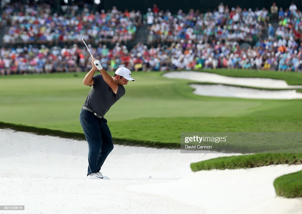 Francesco Molinari of Italy plays his second shot on the par 4, 18th hole during the final round of the 2017 PGA Championship at Quail Hollow on August 13, 2017 in Charlotte, North Carolina.