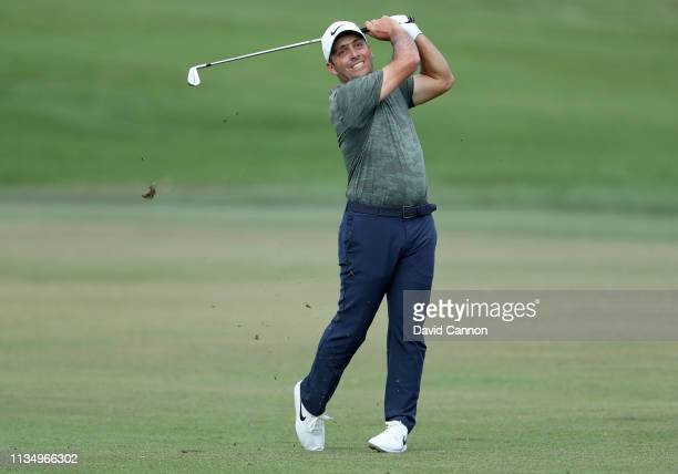 Francesco Molinari of Italy plays his second shot on the par 5, 16th hole during the final round of the 2019 Arnold Palmer Invitational at the Arnold...
