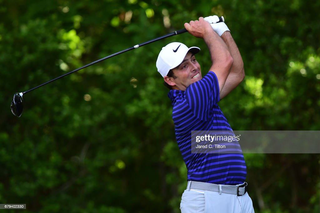 Francesco Molinari of Italy plays his shot from the 11th tee during round two of the Wells Fargo Championship at Eagle Point Golf Club on May 5, 2017 in Wilmington, North Carolina.