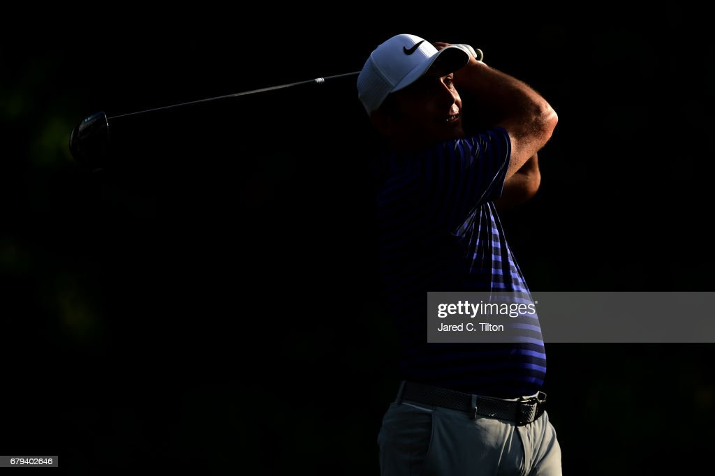Francesco Molinari of Italy plays his shot from the 13th tee during round two of the Wells Fargo Championship at Eagle Point Golf Club on May 5, 2017 in Wilmington, North Carolina.
