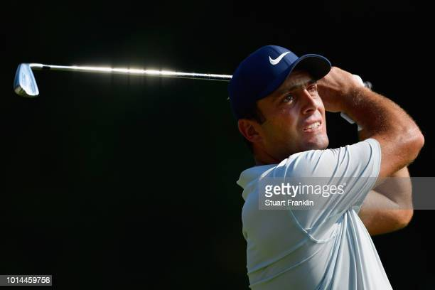 Francesco Molinari of Italy plays his shot from the 16th tee during the second round of the 2018 PGA Championship at Bellerive Country Club on August...