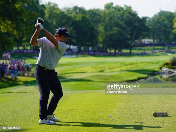 Francesco Molinari of Italy plays his shot from the 17th tee during the second round of the 2018 PGA Championship at Bellerive Country Club on August...