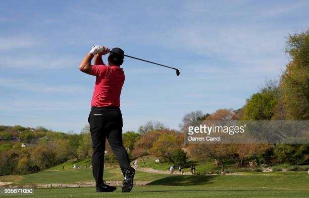 Francesco Molinari of Italy plays his shot from the third tee during the first round of the World Golf ChampionshipsDell Match Play at Austin Country...