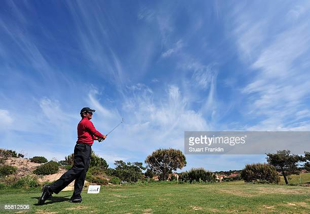 Francesco Molinari of Italy plays his tee shot on the 14th hole during the final round of The Estoril Open de Portugal The Oitavos Dunes Golf Course...