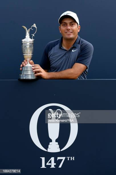 Francesco Molinari of Italy poses with the Claret Jug after his victory in the 147th Open Championship at Carnoustie Golf Club on July 23 2018 in...