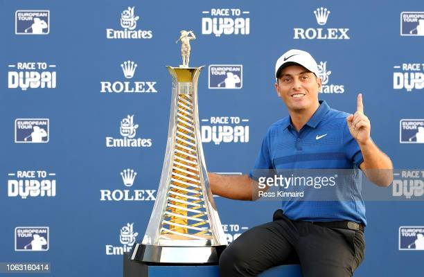 Francesco Molinari of Italy poses with the Race to Dubai trophy following the final round of the DP World Tour Championship at Jumeirah Golf Estates...