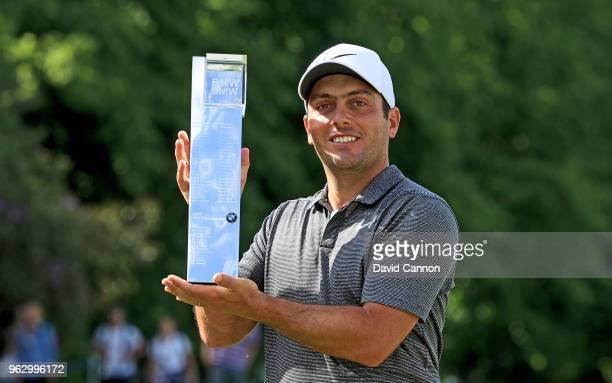 Francesco Molinari of Italy poses with the trophy after the final round of the 2018 BMW PGA Championship on the West Course at Wentworth on May 27,...