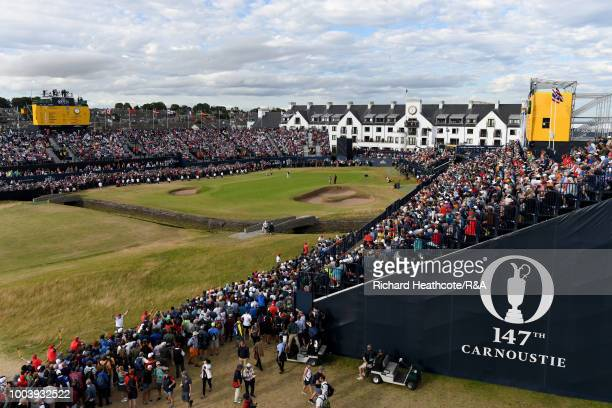 Francesco Molinari of Italy putts for birdie on the 18th green during the final round of the Open Championship at Carnoustie Golf Club on July 22...