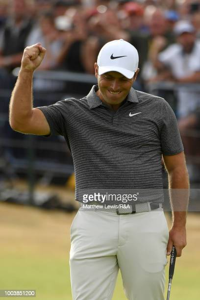 Francesco Molinari of Italy reacts after his birdie on the 18th green during the final round of the Open Championship at Carnoustie Golf Club on July...