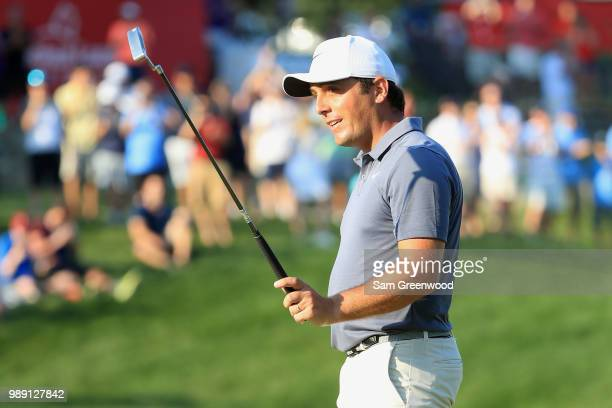 Francesco Molinari of Italy reacts after winning the Quicken Loans National during the final round at TPC Potomac on July 1 2018 in Potomac Maryland...