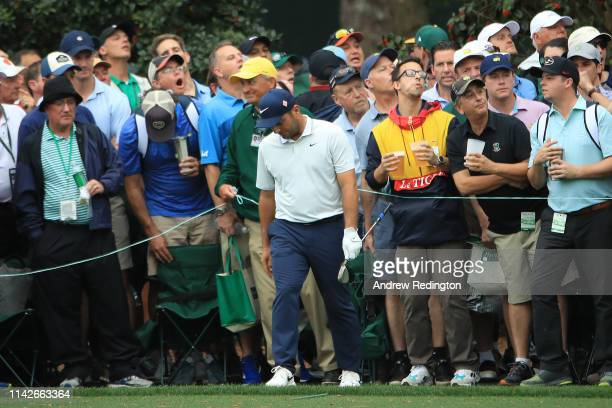 Francesco Molinari of Italy reacts to his third shot on the 15th hole during the final round of the Masters at Augusta National Golf Club on April 14...