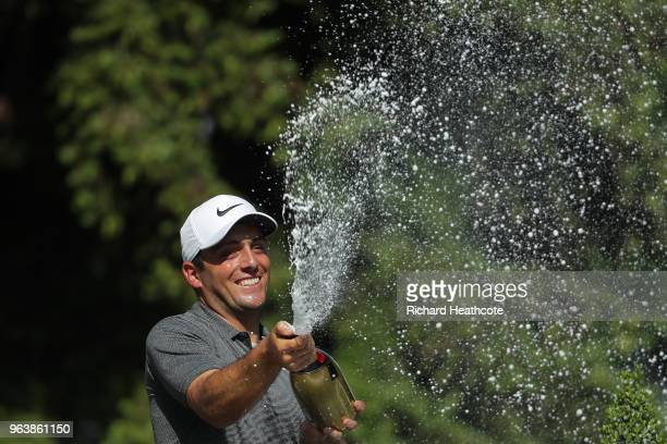 Francesco Molinari of Italy sprays champagne after victory in the final round of the BMW PGA Championship at Wentworth on May 27 2018 in Virginia...