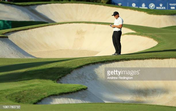 Francesco Molinari of Italy stands on the 15th hole during day one of the DP World Tour Championship at Jumeirah Golf Estates on November 15 2018 in...