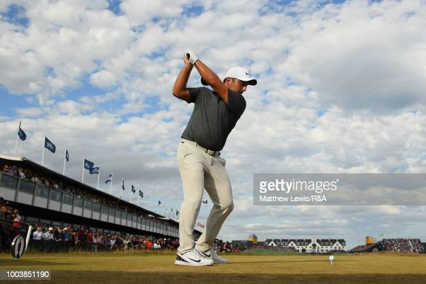 Francesco Molinari of Italy tees off at the 18th hole during the final round of the Open Championship at Carnoustie Golf Club on July 22 2018 in...