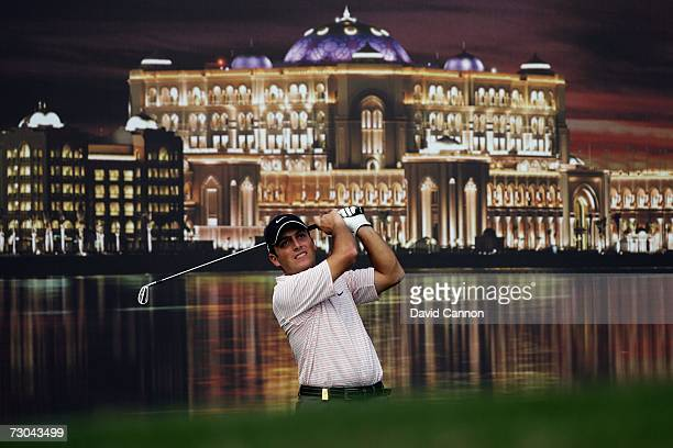 Francesco Molinari of Italy tees off at the par 3, 12th hole during the second round of the 2007 Abu Dhabi Golf Championship, at the Abu Dhabi Golf...