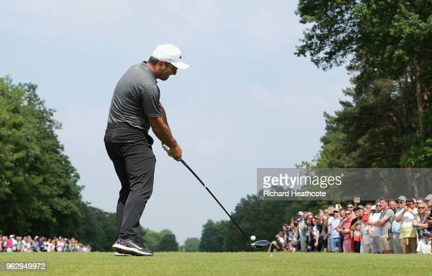 Francesco Molinari of Italy tees off on the 15th hole during the final round of the BMW PGA Championship at Wentworth on May 27 2018 in Virginia...
