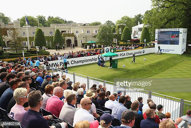 Francesco Molinari of Italy tees off on the 1st hole during day three of the BMW PGA Championship at Wentworth on May 28 2016 in Virginia Water...