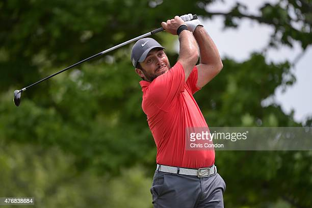 Francesco Molinari of Italy tees off on the fifth hole during the final round of the Memorial Tournament presented by Nationwide at Muirfield Village...