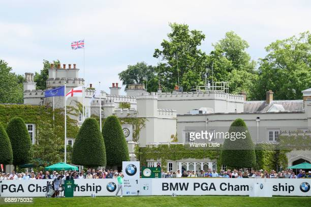 Francesco Molinari of Italy tees off on the first hole during day three of the BMW PGA Championship at Wentworth on May 27 2017 in Virginia Water...