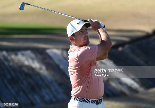 Francesco Molinari of Italy tees off on the fourth hole during the third round of The American Express tournament at the Stadium Course at PGA West...