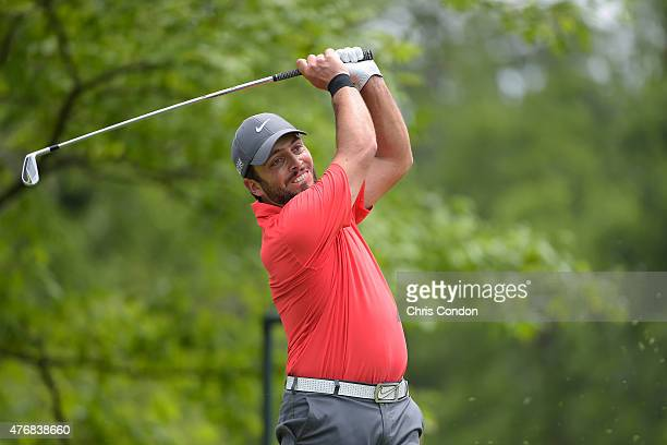 Francesco Molinari of Italy tees off on the fourth hole during the final round of the Memorial Tournament presented by Nationwide at Muirfield...